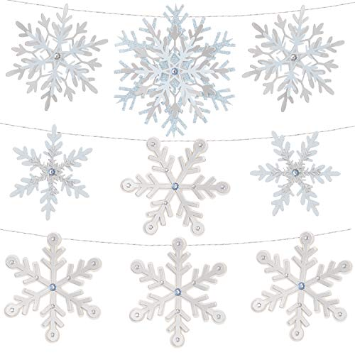 Martha Stewart 30068366 Die Cut Paper Snowflake Garland, Multicolor