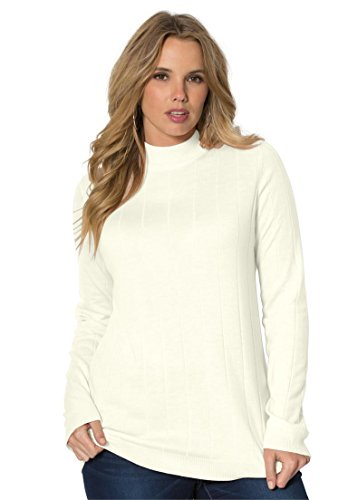 Roamans-Womens-Plus-Size-Fine-Gauge-Mock-Neck-Sweater