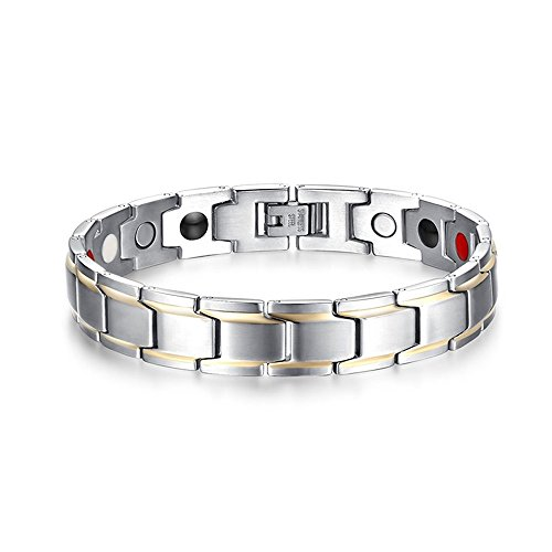 Price comparison product image XUANPAI Basic Matt Finsh Health Magnetic Therapy Link Adjustable Bracelet for Men,Free Link Removal Kit