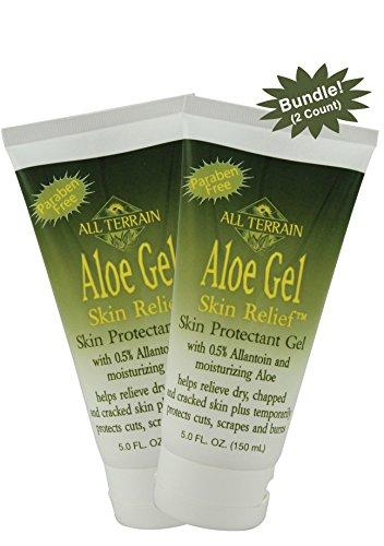 - All Terrain Natural Aloe Gel Skin Relief 5.0 oz, 2 Count, Bundle, First Aid Skin Relief Gel for Sunburns, Scrapes, Cuts, Paraben Free, with Moisturizing Aloe Vera, Chamomile, Cucumber & Lavender