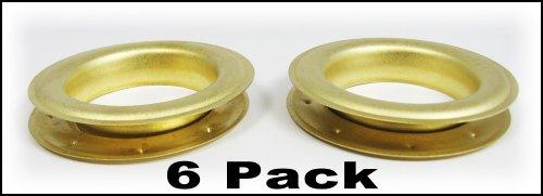 6pc. #12 (1.5'' hole diameter) Satin Brass Grommets by C. B. Gitty