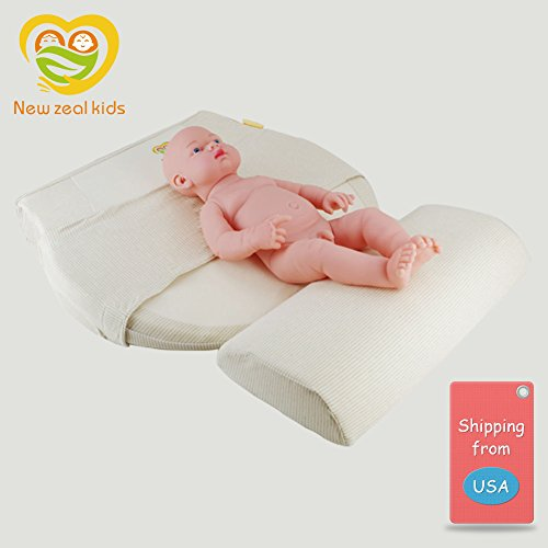 Baby Crib Pillow Mattress Wedge Infant Reflux Reducer Nasal Congestion Reducer High-Density Stereotype Sponge Pillow Newborn Baby Sleep Positioner with Cotton Removable Cover Pregnancy Pillow (Beige)