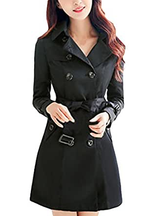MFrannie Women Vintage Slimming With Belt Double Breast Trench Coat Black XS