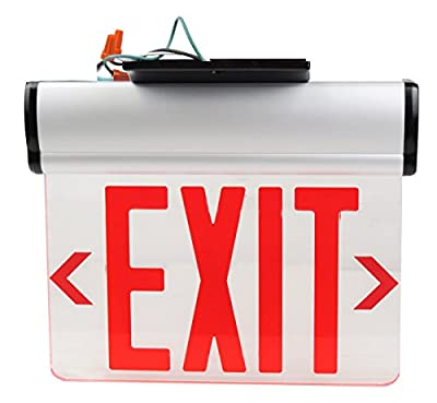 Kaito LED Lights Edge Light (Edge-Lit) Exit Sign, Rotary Surface Mounting - Red Lettering, See Through - UL Listed, Battery Backup