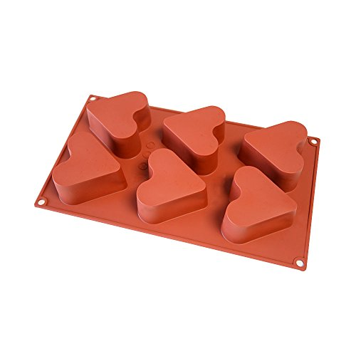 Silicone Cake Mold 6-Cavity Heart Cake Pan & Chocolate Mold Non-stick Silicone Baking Pan for Soap, Cookies, Jelly, Chocolate, Ice Cream, Muffin