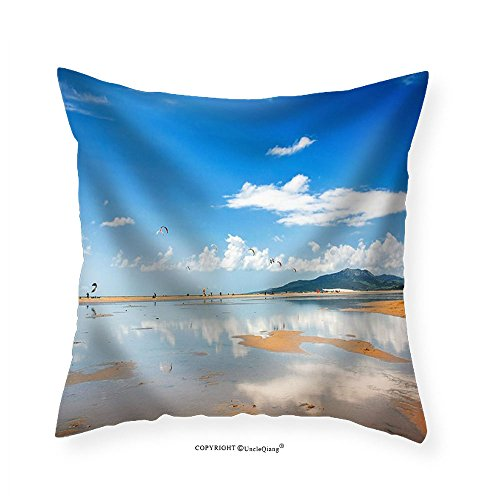 VROSELV Custom Cotton Linen Pillowcase Tarifa Beach in Spain Packed with Kitesurfers - Fabric Home Decor 12''x12'' by VROSELV