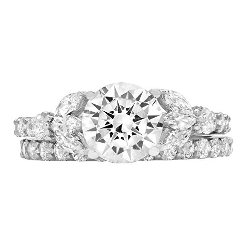 2.72ct Brilliant Round Marquise Cut Halo Bridal Engagement Statement Wedding Ring set 14k White Gold, 5.25 by Clara Pucci