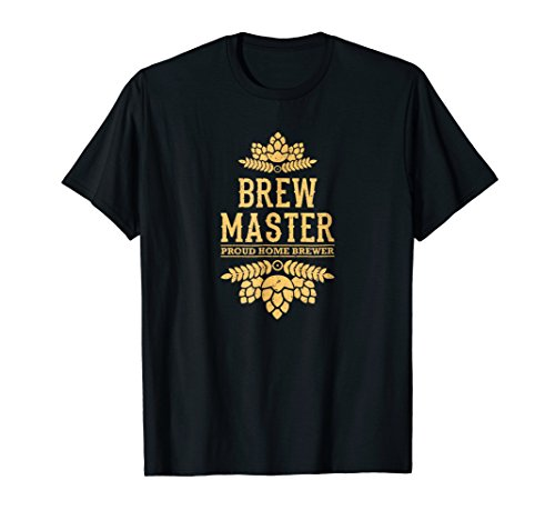 Mens proud home brewer brewmaster t-shirt Large Black ()
