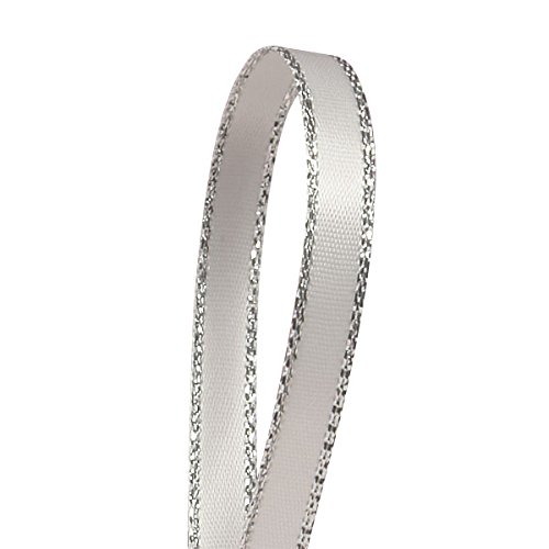 - White Satin Ribbon with Silver Border, 1/4