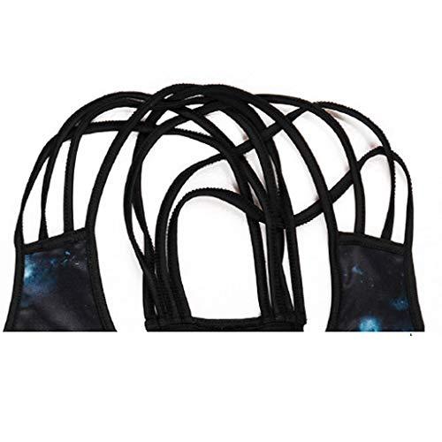 Women Tops, Sleeveless V Neck Vest Bandage Printed Tank Blouse (BlackC,XL)