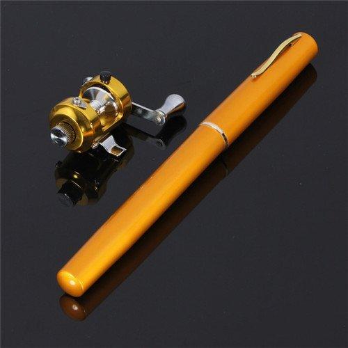 G Ganen 38inch Mini Portable Pocket Aluminum Alloy Fishing Rod Pen Great Gift (Golden)