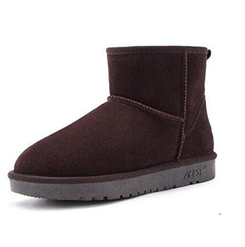 Brown de plat court bottes TT noir de fourrure talon kaki hiver cuir amp;XUEDIXUE en court bottes neige haut café tube en mode air plein gris Chaussures femmes pour xqfTqFw8H