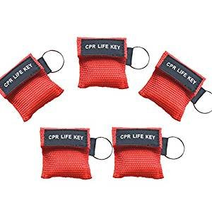 Keychain Barrier (CPR Mask Keychain Ring Pack of 50pcs Emergency Kit Rescue Face Shields with One-Way Valve Breathing Barrier for First Aid or AED Training)