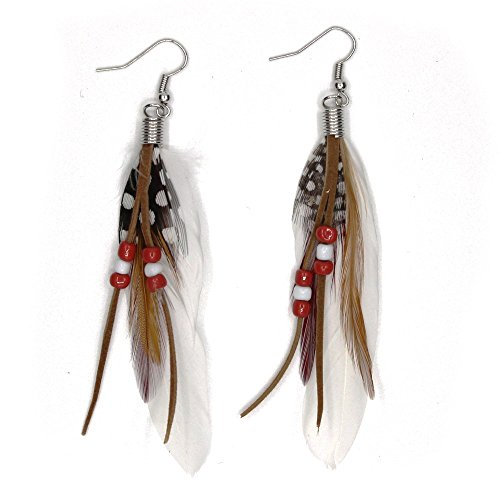 KISSPAT Feather Earrings Cute Feather Earrings Handmade Earrings Natural Feather Colorful Earrings