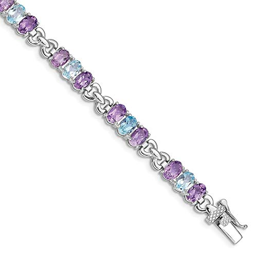 925 Sterling Silver Purple Amethyst Blue Topaz Bracelet 7.25 Inch Gemstone Fine Jewelry Gifts For Women For Her