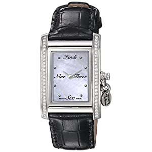 Fendi Women's 'ID' Swiss Quartz Stainless Steel and Leather Dress Watch, Color Black (Model: F711341DC)