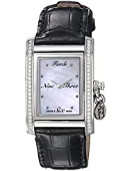Fendi Womens ID Swiss Quartz Stainless Steel and Leather Dress Watch, Color Black (Model: F711341DC)