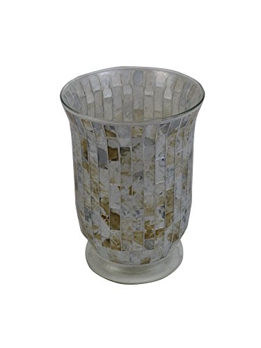 "Firefly Home Collection Cream Mosaic Candle Holder, 6"" x 6"""