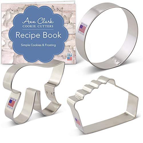 Pie/Pi Cookie Cutter Set with Recipe Booklet - 3 piece - Slice of Pie, Pi Symbol and Circle - Ann Clark - USA Made Steel