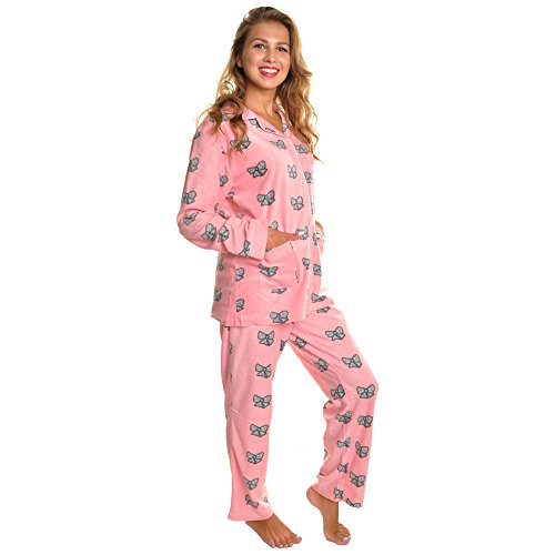 Pink Cozy Pajamas - Angelina Cozy Pajama Set, #91156_Bow Tie_L