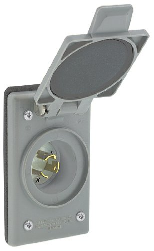Leviton 4586-CWP 15 Amp, 250 Volt, Power Inlet Receptacle, Locking Blade, Industrial Grade, Self Grounding, Gray