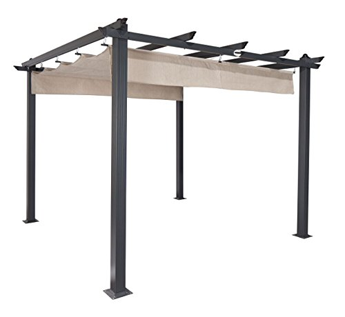 "Coolaroo Aurora Pergola, Backyard or Patio Shade Pergola, Light Filtering 90% UV Block, (9'8"" X 9'8""), Smoke"