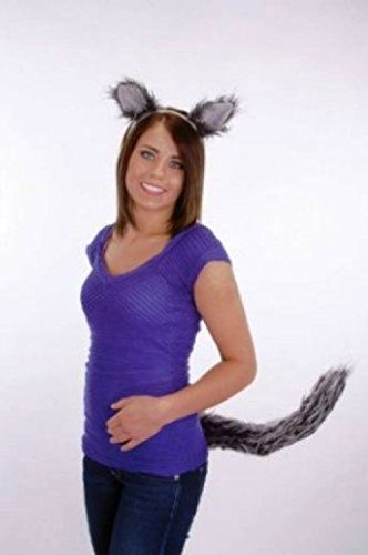 Funny Abe Lincoln Costume (OvedcRay Wolf Ears And Tail Set Grey Big Bad Wolf Werewolf Wolfman Costume Ears & Tail)