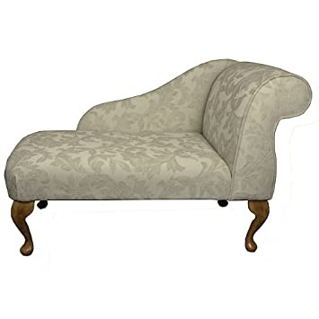 Small Chaise Longue Chair in a Cream fortuna Floral Fabric by ...