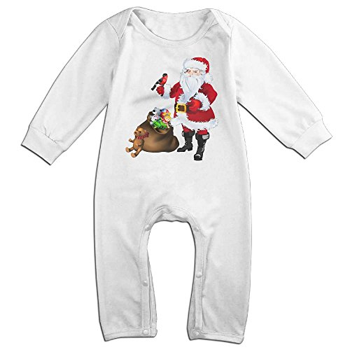 Bell Boy Costume Pattern (Baby Infant Romper Christmas Santa Claus Long Sleeve Jumpsuit Costume White 18 Months)