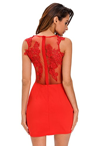 Neue Damen Rot Mesh Aufnäher Mini Kleid Club Wear Sommer Kleid Party ...