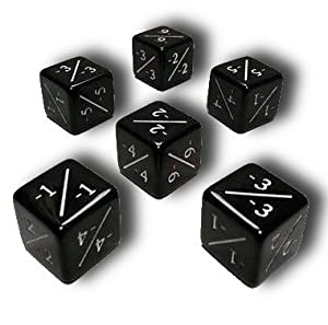 Set of 6 MTG -1/-1 Counter Dice (Black)