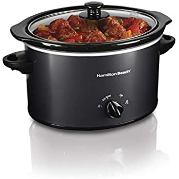 Hamilton Beach 3-Quart Slow Cooker With Dishwasher-Safe Crock & Lid, Matte Black (33231)