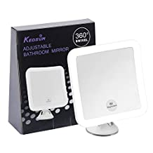 """KEDSUM 8X Magnifying LED Lighted Makeup Mirror - 5.2"""" Wide Daylight Travel Vanity Mirror with Strong Suction Cup,360 Rotation,Compact, Cordless,Battery Operated,Illuminated Bathroom Mirror (Square)"""