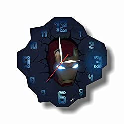 Art time production FBA Iron Man 11.8'' Handmade Unique Wall Clock - Get Unique décor for Home or Office – Best Gift Ideas for Kids, Friends, Parents