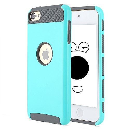 iPod touch 6 Case, iPod Touch 5 Case, Alkax Rubber &Hard PC Slim Cover Case Heavy Duty Impact Cases Design Armor Protective Case Bumper for iPod touch 5th 6th Gen Generation +Stylus(Teal/Grey) (Blue Case Ipod Girl Gen Touch 5th)