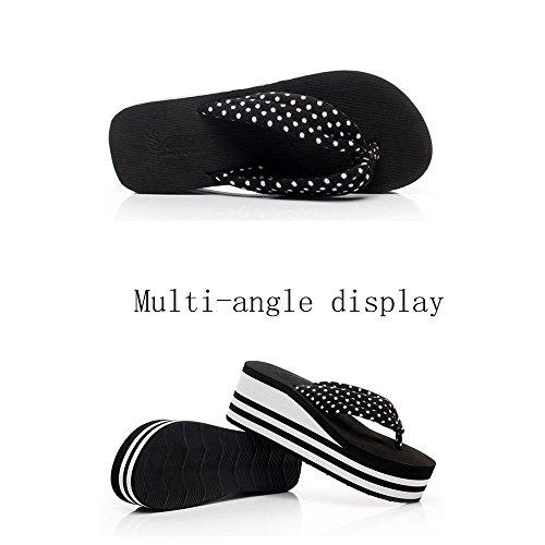 Tongs 2 Sandales love Tongs 38 à Black Tongs White Size beauty Color Compensées Angel Femmes Plateforme EU Confortables pour 3 fPqwgAaax