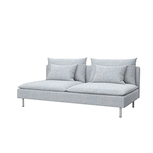 Soferia Replacement Cover for IKEA SÖDERHAMN Sofa-Bed, Fabric Naturel Light Grey