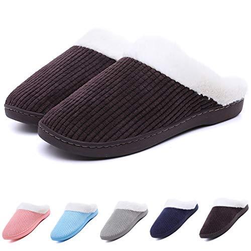 SCIEN Womens Comfort Coral Fleece Memory Foam Slipper Plush Lining Anti-Slip Cozy House Shoes Indoor & Outdoor, Coffee 38/39