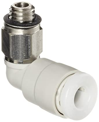 SMC KG Series Stainless Steel 303 and PBT Push-to-Connect Tube Fitting, 90 Degree Elbow, 4mm Tube OD x M5x0.8 Male
