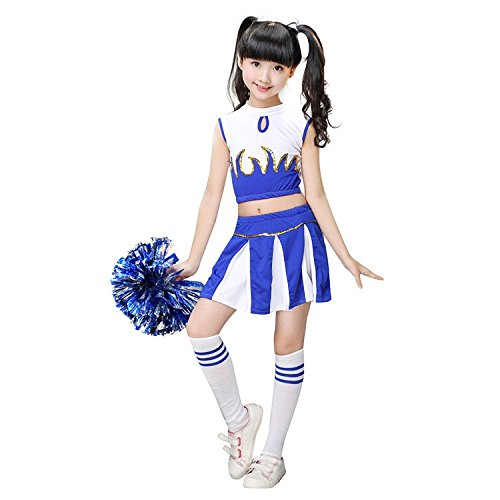 Leading Ladies Costumes (Jojobaby Girls Ladies Cheerleader Costume Uniform 2Piece Carnival Party Halloween Christmas Costume Dress Cheerleading Jazz Clothing With 2pompoms and Socks (7-8 Years, Blue))