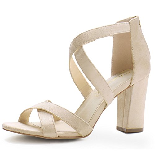 Allegra K Women Crisscross Strappy Open Toe Heeled Sandals (Size US 8) Beige Beige Leather Heels