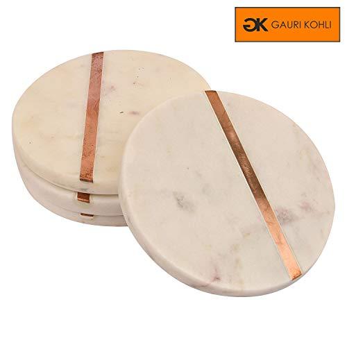 GAURI KOHLI Beautiful White Marble Coasters; Embellished With Rose Gold Inlay & Cork Backing (Large Size | Set of 4)