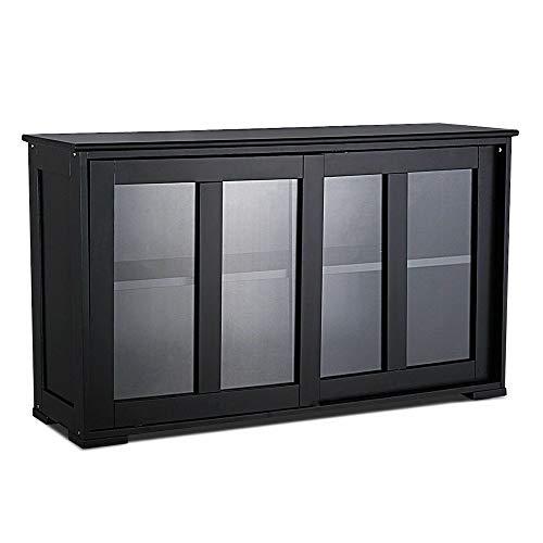 Thaweesuk Shop Black Storage Cabinet Sideboard Buffet Cupboard Glass Sliding Door Pantry Kitchen New MDF Transparent Tempered Glass 42