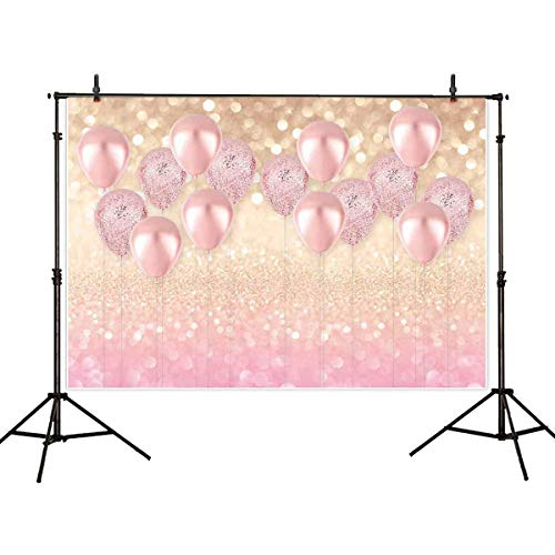 Allenjoy 8x6ft Soft Fabric No-Wrinkles & Large Pink Balloon Golden Glittter Photography Backdrop for Girls Kids Birthday Baby Shower Rose Gold Party Decorations Supplies Background Photo Studio Props
