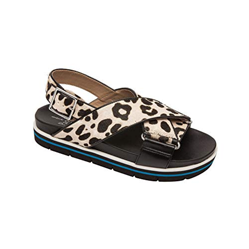 Ruth | Wide Cross Strap Leather Sport Footbed Sandal White/Black Leopard Print Hair Calf/Nappa 10M - Nappa Footwear Black Suede