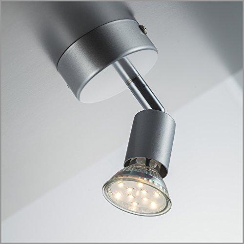 LED Wand-leuchte / Decken-leuchte / Spot / Decken-strahler / GU10 / 3 Watt / 250 Lumen / schwenkbar / titanfarbig