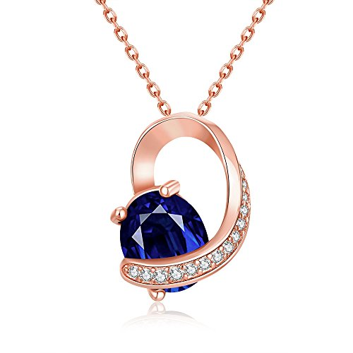 SDLM Womens Fancy Heart Charm Blue Crystal White Gold Plated Unique Pendant - Name Mod Tags Mom