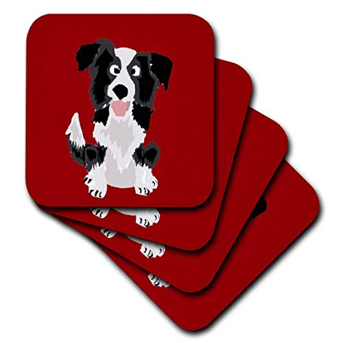 - 3dRose Funny Border Collie Puppy Dog Art - Ceramic Tile Coasters, Set of 4 (CST_218083_3)