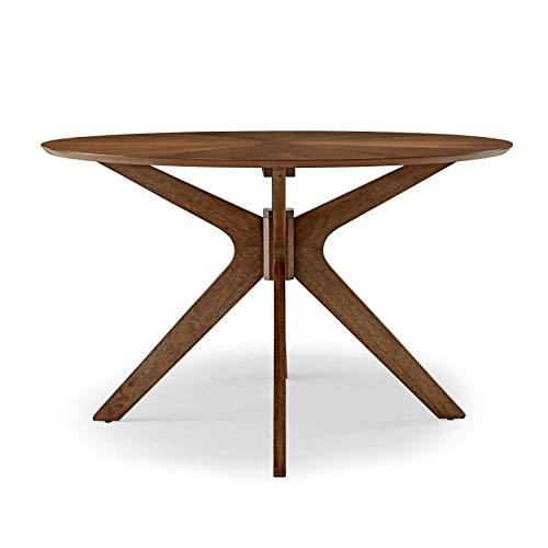 "Modway Crossroads 47"" Round Wood Dining Table, Walnut"