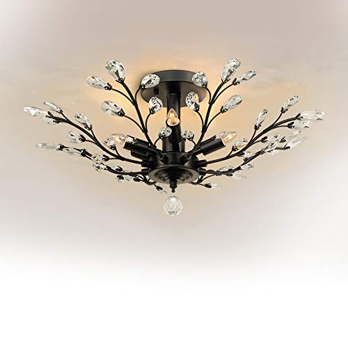 Crystal Chandelier, SPARKSOR Vintage Ceiling Light, Modern Elegant K9 Crystal Glass Chandelier Ceiling Lighting Fixture for Living Room Bedroom Restaurant Porch Chandelier- Matte Black – 5 Lights